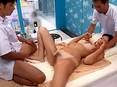Japanese Suntan Vikini Teen gets Creampied by Masseur 4-4