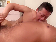 Japanese hot bear enjoys blow job/ oral fun