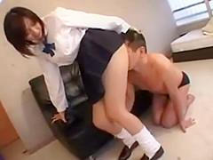 japanese girl on skirt facesitting the man