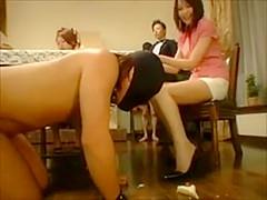 CFNM- Japanese rich girls torture male slaves at dinner