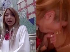 茶髪の可愛い女子高生を2画面で左はインタビーで右画面はフェラからセックスまで!
