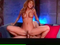 Uncensored Japanese Porn Busty tanned AV Idol pussy play
