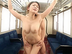 Runa Sezaki as a cheerleader gets fucked in a subway train