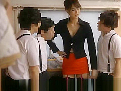 Japanese sexy teacher likes to jerk of his students