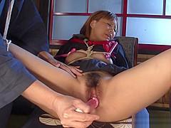 Submissive Miu Tamura is having her regular sex slave traini