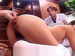 Uncensored Japanese nurse CMNF anal inspection Subtitled