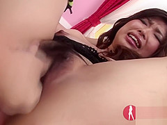 Japanese Milf double creampied hairy pussy