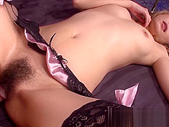 Japanese blonde keeps her stockings on for fucking