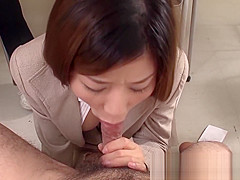 Japanese teacher blows a bunch of her students