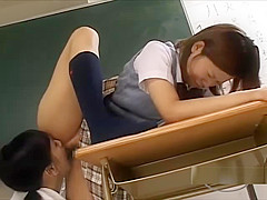 Schoolgirl With Flexible Legs Getting Her Hairy Pussy Licked By Her Teacher