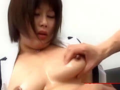 Busty Office Lady Getting Her Tits Massaged With Lotion Rubbed With Cocks B