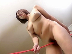 Cheeky cute babe with big tits rope masturbation