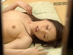 Shameless Asian babe Rika Araki caught stroking and sucking cock in voyeur sex tape