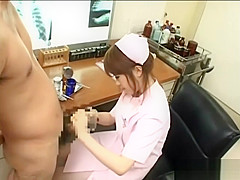 Asian nurse handjob cum play