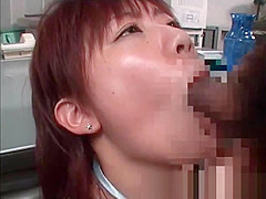 Small titted asian schoolgirl eats dick