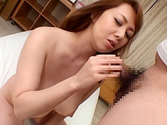 Horny Japanese milf sucks off hard on for the POV cameras