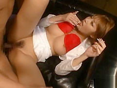 Busty asian babe gets mouth and pussy double fucked
