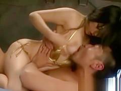 Asian japanese slut rides hard cock