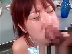 Asian bitch eats cock for sperm