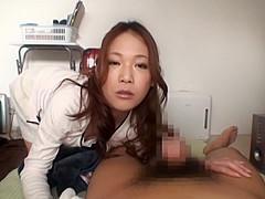 Amazing Japanese AV model has a talent for sucking cock