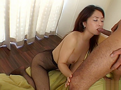 Yuka Osawa gets s good fuck doggy-style and cum in mouth.