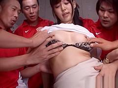 Tsukasa Aoi naughty Asian babe banged hard after double blowjob