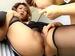 Asian in Black Lingerie Fucked with Strapon
