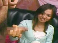 Japanese CFNM Japanese girl watches stranger jerk catches