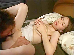 Beautiful Japanese wife with swollen tits bound for lactation