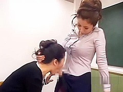 Asian Woman Jerking Her Strapon Sucked Licking Other Woman Pussy On The Chair In The Classroo