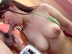 Okita Nana gets a nasty cum on tits