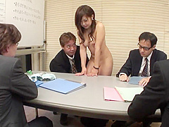 Sexy secretary gets to suck cocks during a meeting