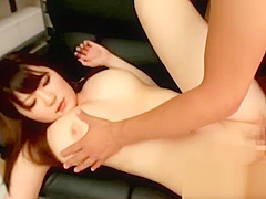 Busty schoolgirl getting her pussy fucked cum to tits sucking guy on the couch in the library video
