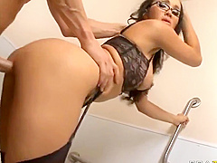 Gorgeous office slut Katsuni suck and fuck big dicks around the office Video