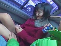 Hot asian babe in car having fun part1