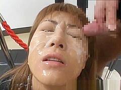 Crazy Asian model in hot bukkake action part5