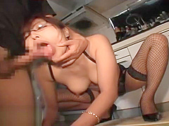 Japanese hot wife fucked in fishnet stockings