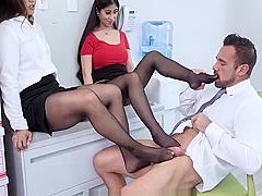 Asian Secretaries In Pantyhose Giving Coworker Foot job in Lunchroom