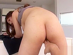 Large breasts asian is down on all fours to receive wild drilling
