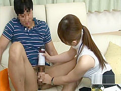 CFNM Japan milf uses sex toy to give client a handjob