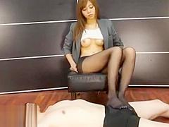 Japanese tiny secretary in pantyhose foot fetish