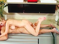 Japanese busty masseuse gives nuru gel massage 14