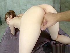 Big tit babe devours two large cocks