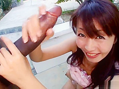 Good-looking natural breasty Japanese teen slut Marica Hase in love with the facials