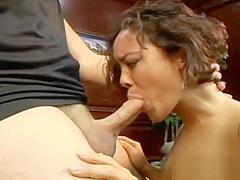 Horny tattooed asian sucking cock part1