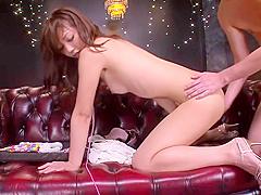 Divine stubbly Japanese Yuki Jin haning an incredible masturbation