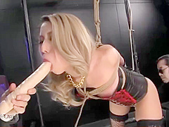 Blonde Japanese Fuck doll in black fishnets fucked in bondage.