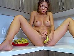 Young Asian Orgasms Hard/ Fruit cum