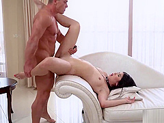 Asian slut Lady Dee shows up in her red lingerie with chain on her neck ready for a intense hardcore fucking action with her dominant lover Matt Bird.