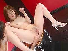 Asian chick in high heels squirts from clit rubbing